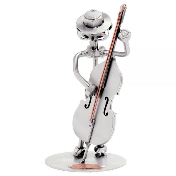 Kontrabasson soittaja mutteriveistos