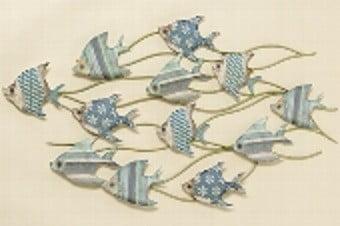 Fish Bolly sinisävyinen kalaparvi seinälle