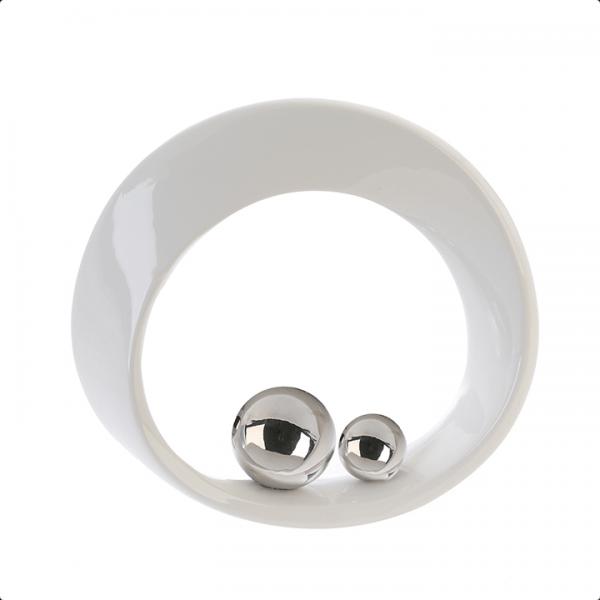 Hopeapallot pyöreä valkoinen koriste hyllyyn tai pöydälle