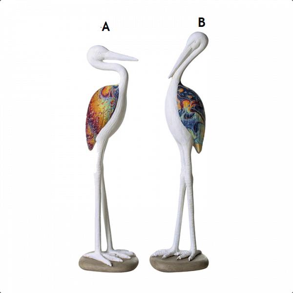 Harmaahaikara B valkoinen lintukveistos sisisävyiset siivet