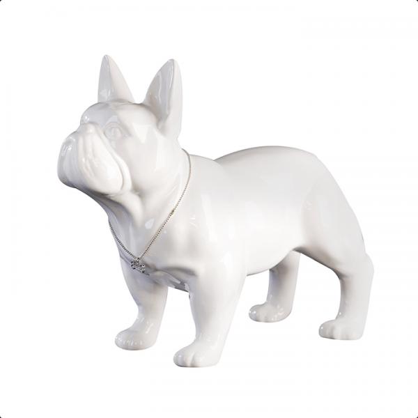 Bulli valkoinen ranskanbulldoggi koristepatsas