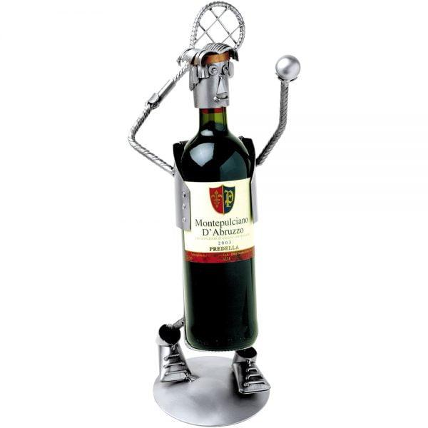 Tenniksen pelaaja pulloteline viini