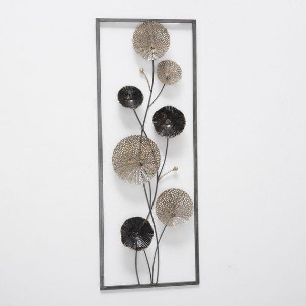 Bellino A, metallinen kukka-aiheinen seinäkoriste.